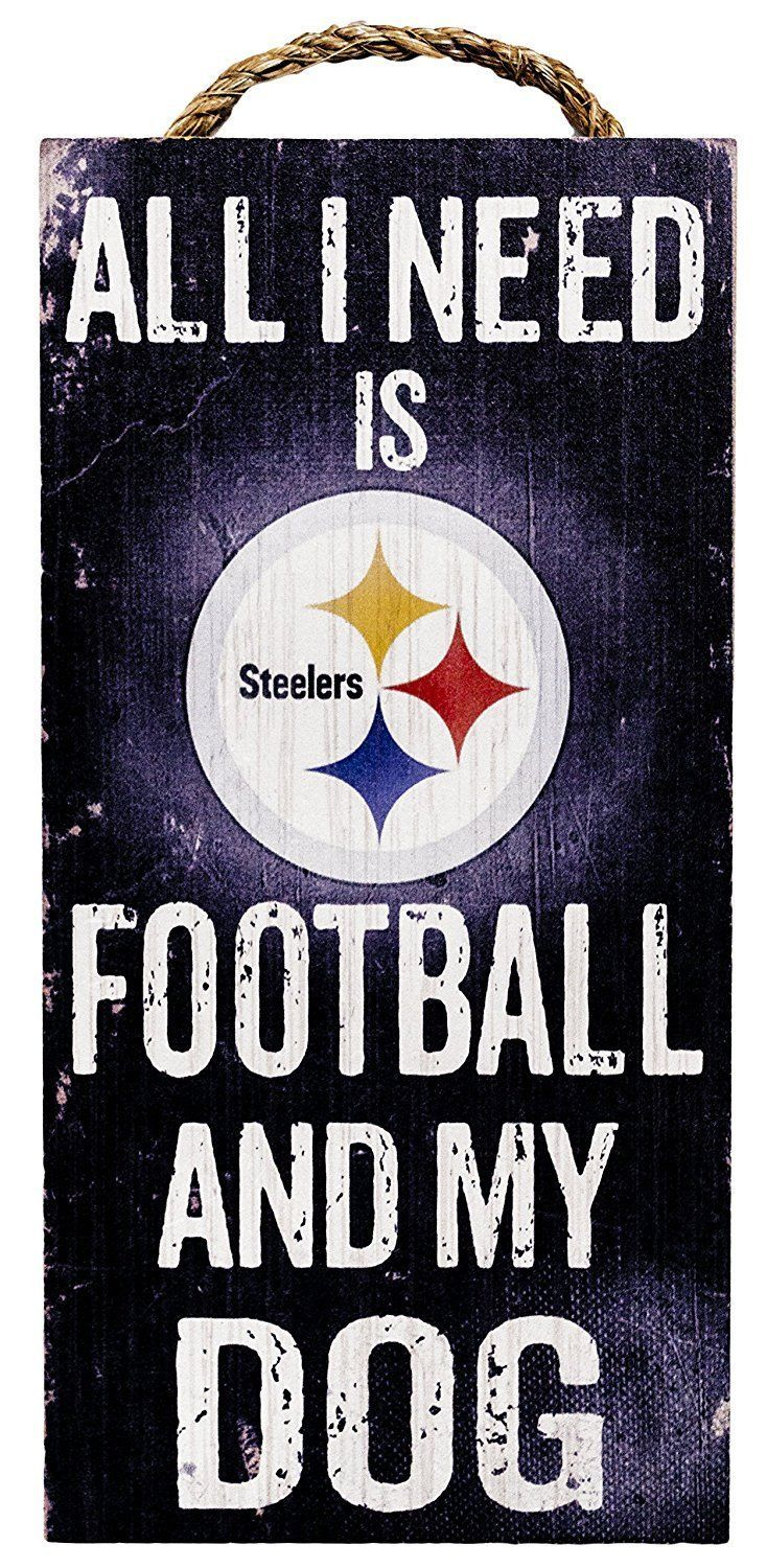 "PITTSBURGH STEELERS FOOTBALL & my DOG WOOD SIGN and ROPE 12"" X 6""  NFL MAN CAVE!"