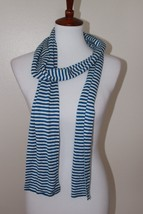 """GAP Blue and Ivory Striped Scarf Winter 72"""" Long x 5.5"""" Wide - $9.49"""