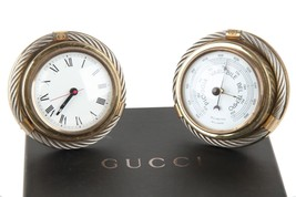 Authentic GUCCI Gold Metal/Silver Round BAROMETER CLOCK SET vintage home... - £595.98 GBP