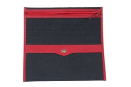 Authentic GUCCI Vintage Blue Red Canvas ZIP POUCH Purse DOCUMENT HOLDER - $74.25