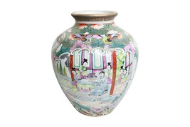 "Beautiful Rose Canton Style Porcelain Round Vase 8"" - $108.89"