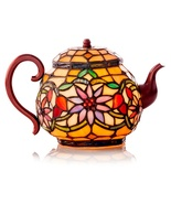 Elegant Teapot Tiffany Accent Lamp Stained Glass - $89.99