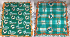 "Miami Dolphins Fleece Baby Blanket Pet Lap Orange Teal Green 30"" x 24"" N... - $39.95"