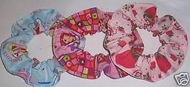 Strawberry Shortcake Hair Scrunchie Scrunchies by Sherry Blue Pink Tie P... - $6.99+
