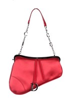 Authentic CHRISTIAN DIOR Red Satin EVENING Mini SADDLE BAG Handbag CLUTC... - $287.10