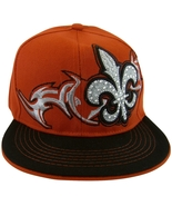 Fleur De Lis Men's Adjustable Snapback Baseball Cap with Bling Red/Black - $11.95