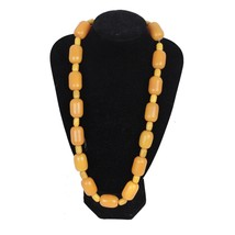 VINTAGE Orange & Yellow Amber-look Beads NECKLACE - $34.65