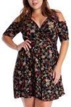 Black Cutout Sleeve Mock Wrap Dress Plus Size - $69.00