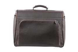BATTISTONI Brown leather GARMENT CARRIER BAG Travel Suit Cover w/ WASH BAG - $1,435.50