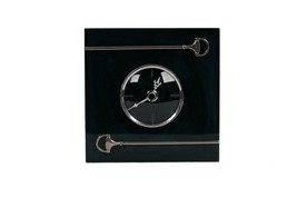 Authentic GUCCI VINTAGE Green Enameled Square DESK Table CLOCK w/ HORSEB... - £337.34 GBP