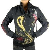 NEW ED HARDY CHRISTIAN AUDIGIER WOMEN'S PREMIUM JACKET BLACK PANTHER SIZE XS image 2
