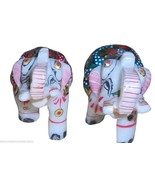 Decorative Solid Marble Gold Jeweled Elephant Pair handicraft christmas ... - $24.99