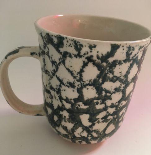 "Folk Craft Green Mottled Pattern Moose Country by Tienshan Coffee Mug Cup 3 7/8"""
