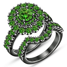 14K Black Gold Over 2Carat Emerald Bridal Engagement Ring Set Silver 925  - $85.00