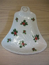 Hand Painted Christmas Bell Candy Dish Holly Berry Design Lefton China  8191 - $9.95