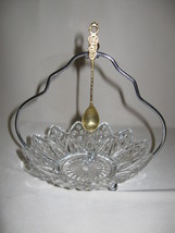 Candy Nut Bowl Pedal Pattern Silver Tone Stand Brass Spoon Federal Glass 1966 - $9.95