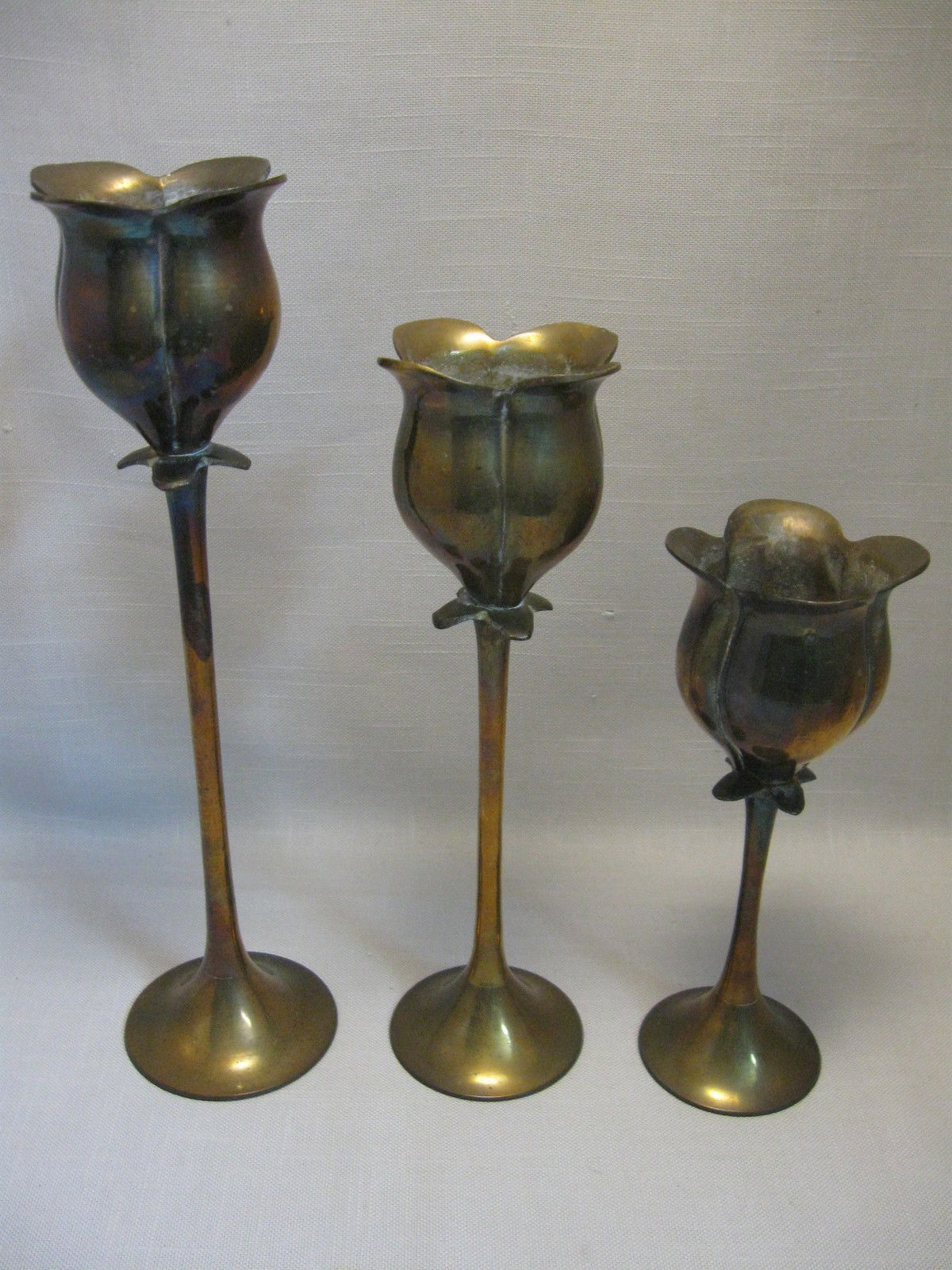 Primary image for Solid Brass Enesco Qty 3 Tulip Candle Stick Holders
