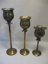 Solid Brass Enesco Qty 3 Tulip Candle Stick Holders - $19.95