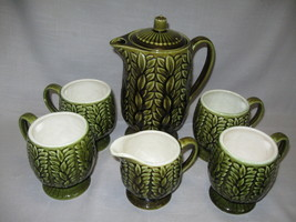 Olive Green Pitcher Creamer and 4 Coffee Cups emboss Leaf Design C-792D ... - $21.95