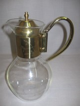 Carafe Jug Pitcher Glass With Gold Tone Mount Etch Flowers & Leaf Design... - $21.95