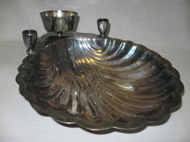 Silver Plate  Chip & Dip Serving Shell Dish Candle Holders FB Rodgers 1883-1955 - $19.95