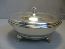 Silver Plate Casserole Pot Dish With Handles  3 Foot Empress Silver Ware... - $19.95