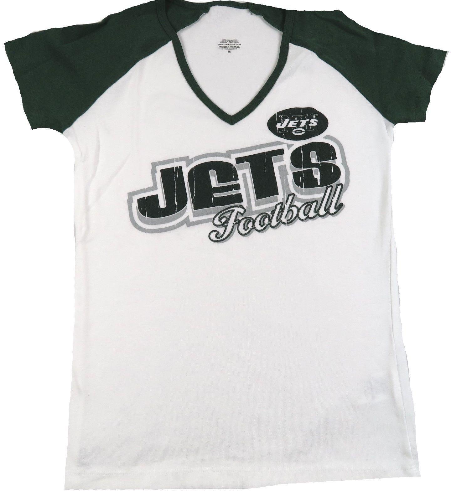 Medium New York Jets Shirt Women's Short Sleeve Deep V-neck Tee Crackle Print