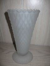 Indiana Glass Co Trumpet Vase White Frosted Dia... - $12.99