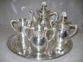 Silver Metal Co Tea Pot Set 1892-1898 Serving T... - $89.95