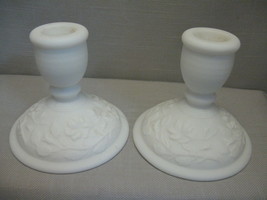Milk Glass Doe Skin Candle Stick Holders Rose Pattern Imperial Qty 2  19... - $14.99