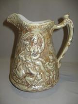 Ceramic Water Pitcher Brown & Beige Upraise Wom... - $19.99