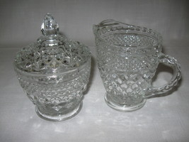 Glass Wexford Pattern Sugar & Creamer Set With Lid Anchor Hocking 1967-2000 - $9.95