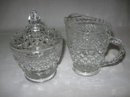 Glass Wexford Pattern Sugar & Creamer Set With Lid Anchor Hocking 1967-2000 - $9.95