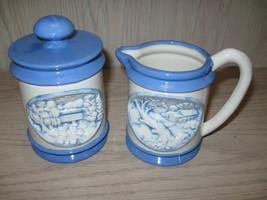 Embossed 3-D Country Scene Creamer & Sugar Bowl Hershey Mold PDS #91 195... - $12.95