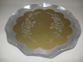 Serving Aluminum  Fruit Vegetable Tray Gold Scallop Center Rose Design 1... - $9.95