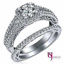 1.25 Carat F-SI2 Round Diamond Halo Split Shank Engagement Matching Bands Weddin - $8,167.50