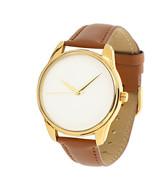 Minimalist Golden Watch Brown Men and Women Casual Wristwatch Stainless Steel  - $39.00