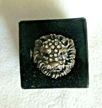 Vintage Rhinestone Lion Ring Bronze Tone Size 7.5 Costume Unsigned - $14.84