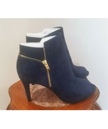 Marc Fisher Serenity Blue Suede Leather Peep Toe Boots Size 10 W Booties - $42.50