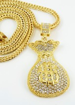 "Hip Hop Gold plated Bling Money Bag Pendant with 36""Chain Necklace G41 - $26.72"