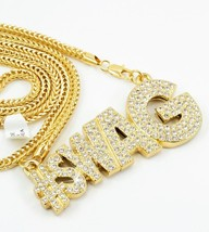 "#SWAG Full Stone Pendant GOLD Plated Necklace 36""Franco Chain Bling - $29.69"
