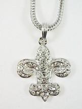 Hip Hop JEWELRY Crystal Fleur De Lis Silver 24''CHAIN Necklace BLING - $14.84