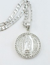 """Bling New Silver PLATED CZ Madonna Pendant 24"""" Virgin Mary Chain Necklace - $15.83"""