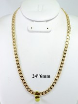 """HIP HOP MENS FIGARO CHAIN 14K GOLD OVERLAY 24"""" INCH & 6MM - £14.19 GBP"""