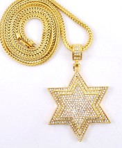 "Hip Hop Cubic Zirconia 3D Gold Tone Star Necklace 36"" Franco Chain Bling - £20.08 GBP"
