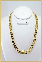 """HIP HOP MENS FIGARO CHAIN 14K GOLD OVERLAY 20"""" INCH & 10MM - £17.74 GBP"""