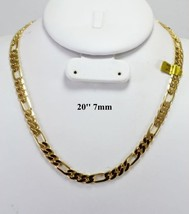 """HIP HOP MENS FIGARO CHAIN 14K GOLD OVERLAY 20"""" INCH & 7MM - £14.19 GBP"""