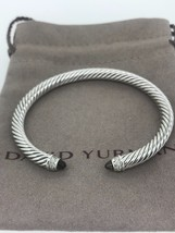 David Yurman S/S 925 5mm Cable SMOKY QUARTZ Diamonds Cuff Bracelet - $299.99