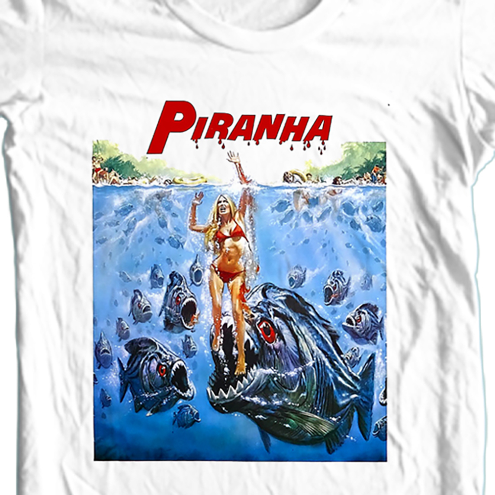 Piranha T-shirt retro 70's 80's Sci Fi American Horror movie Slasher Gore Film