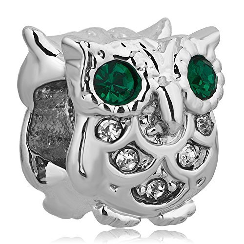 CharmsStory Cute Owl Lucky Charms Animal Green Simulated Birthstone Eyes Beads